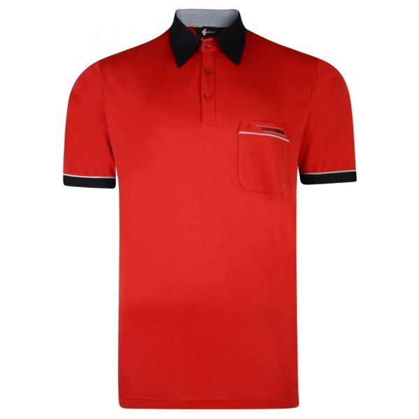 Classic Gabicci Polo Shirt in Red with Contrast Collar