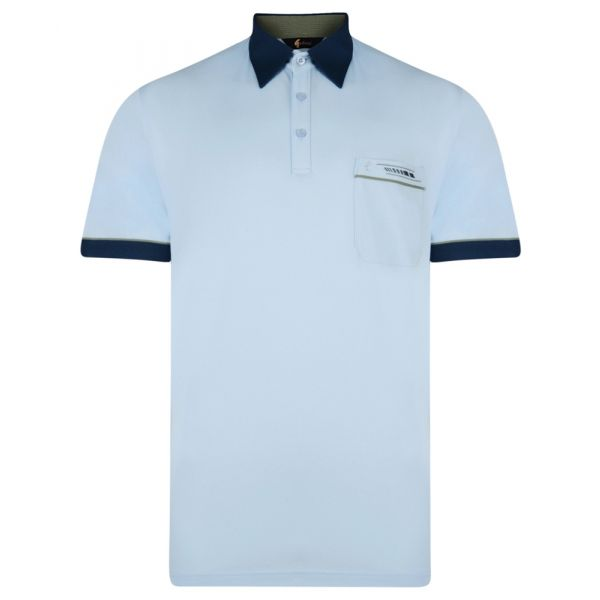 Classic Gabicci Polo Shirt in Sky Blue with Contrast Collar
