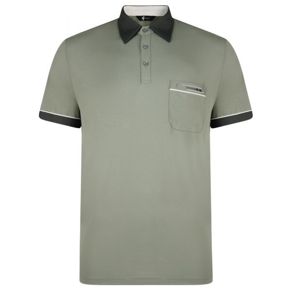 Classic Gabicci Polo Shirt in Sage Green with Contrast Collar