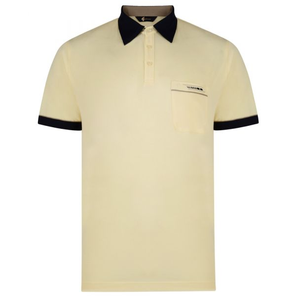 Classic Gabicci Polo Shirt in Corn Yellow with Contrast Collar