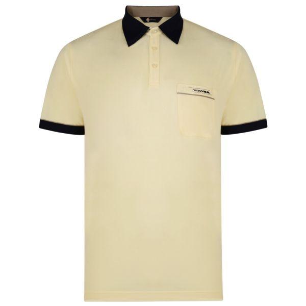 Classic Gabicci Polo Shirt in Corn Yellow with Contrast Collar