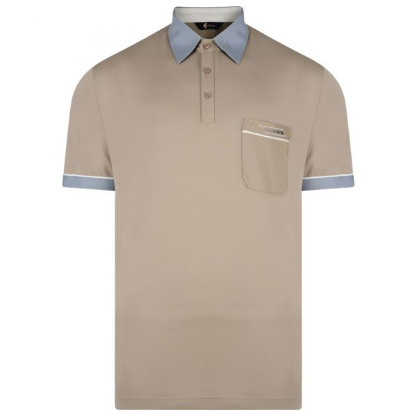 Classic Gabicci Polo Shirt in Stone with Contrast Collar
