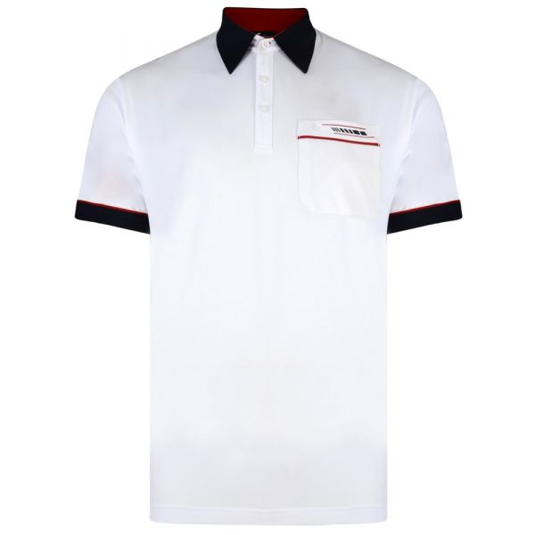 Classic Gabicci Polo Shirt in White with Contrast Collar