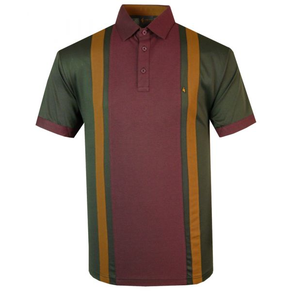 Classic Gabicci Polo Shirt in Camo Green with Wine Block Stripe