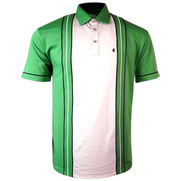 Classic Gabicci Polo Shirt in Elm Green with Cream Mid Block Stripe