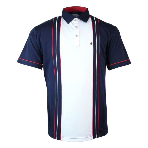 Classic Gabicci Polo Shirt in Navy Blue with White Mid Block Stripe