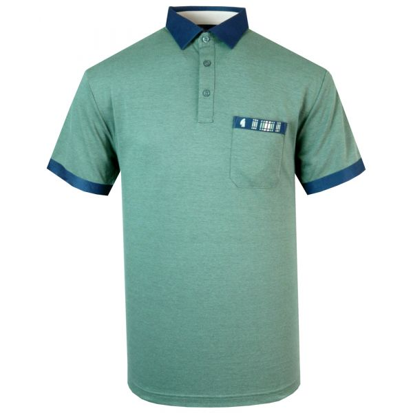 Classic Gabicci Polo Shirt in Basil Green with Navy Trim
