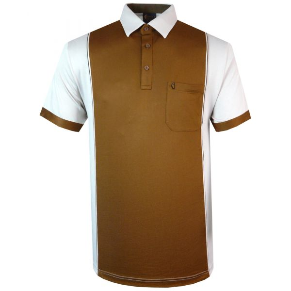 Classic Gabicci Polo Shirt in Brown and Ecru