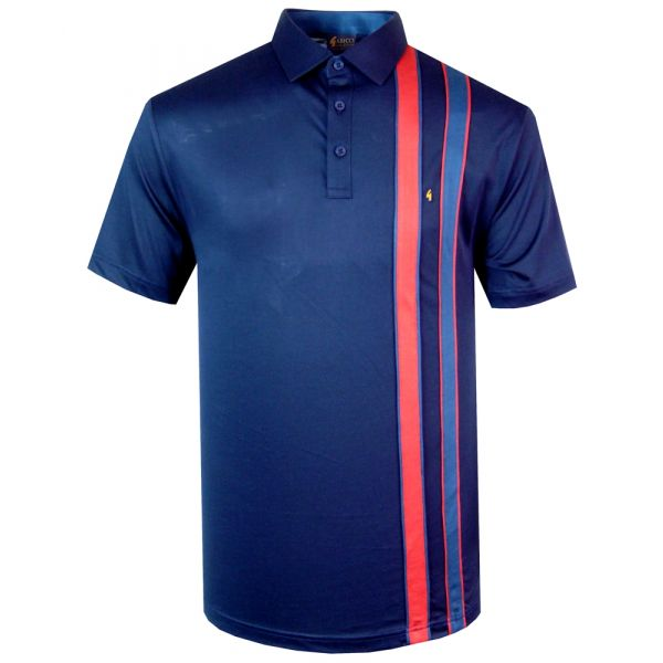 Classic Gabicci Polo Shirt in Navy with Red and Blue Stripe