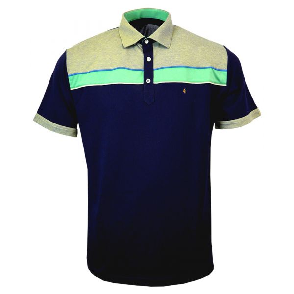 Classic Gabicci Polo Shirt in Dark Navy with Green Trim