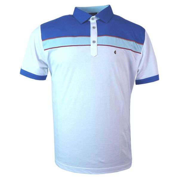 Classic Gabicci Polo Shirt in White with Blue Trim