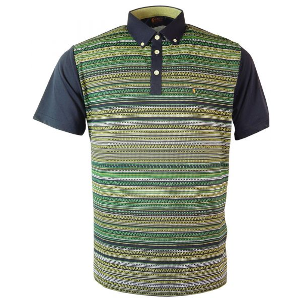 Classic Gabicci Polo Shirt with Dark Navy Button Down Collar with Dot Art Design