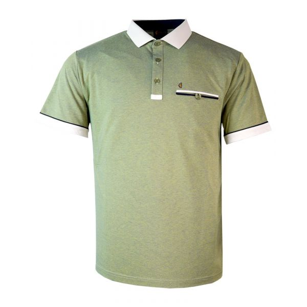 Classic Gabicci Polo Shirt in Mottled Beechnut with Light Fawn Trim