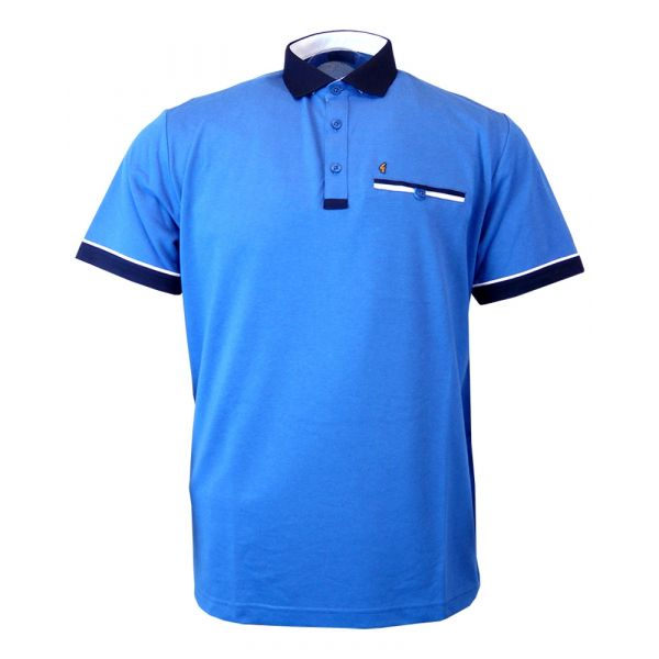Classic Gabicci Polo Shirt in Mottled Blue with Navy Trim