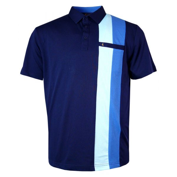 Classic Gabicci Polo Shirt in Navy with Aqua and Cologne Stripe