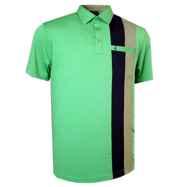 Classic Gabicci Polo Shirt in Elm with Black and Beechnut Stripe