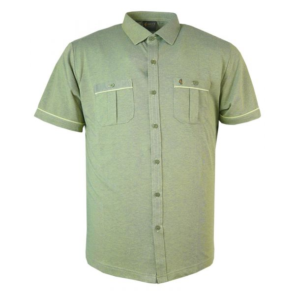 Open Front Gabicci Polo Shirt in Mottled Beechnut