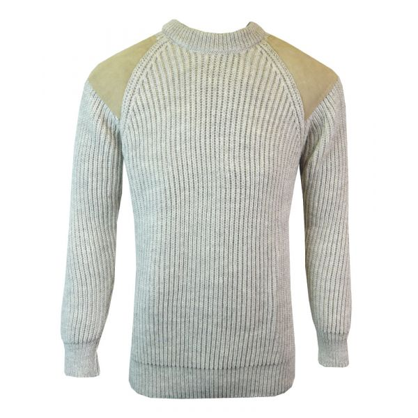 Countryman Pure Wool Sweater in Light Grey from The Richmond Range by Crystal Knitwear