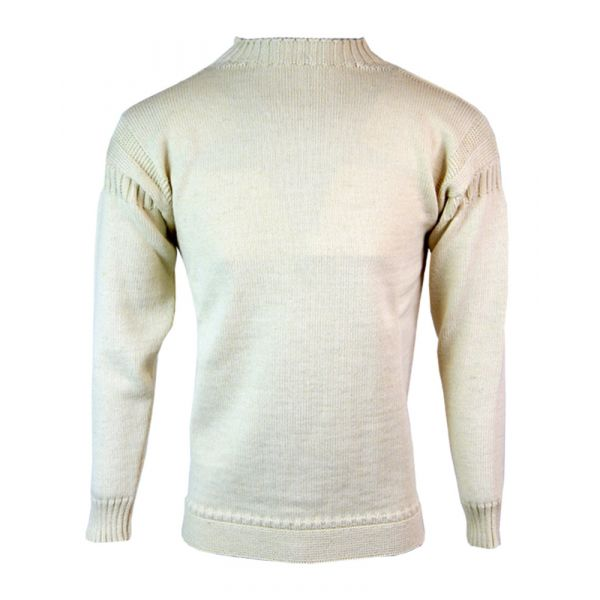 Guernsey - Pure Wool Sweater in Ecru from The Richmond Range by Crystal Knitwear