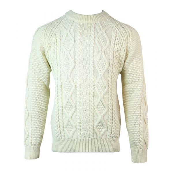 Aran - Pure Wool Sweater in Ecru from The Richmond Range by Crystal Knitwear