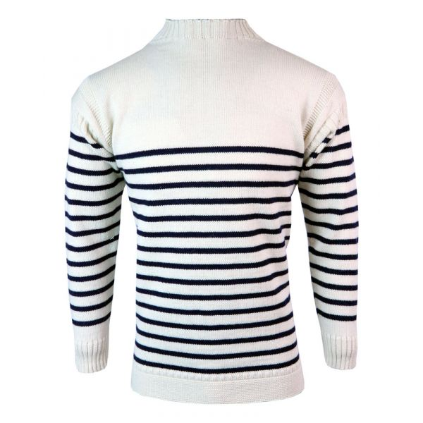 Breton Guernsey - Pure Wool Sweater in Ecru/Navy Stripe from The Richmond Range by Crystal Knitwear