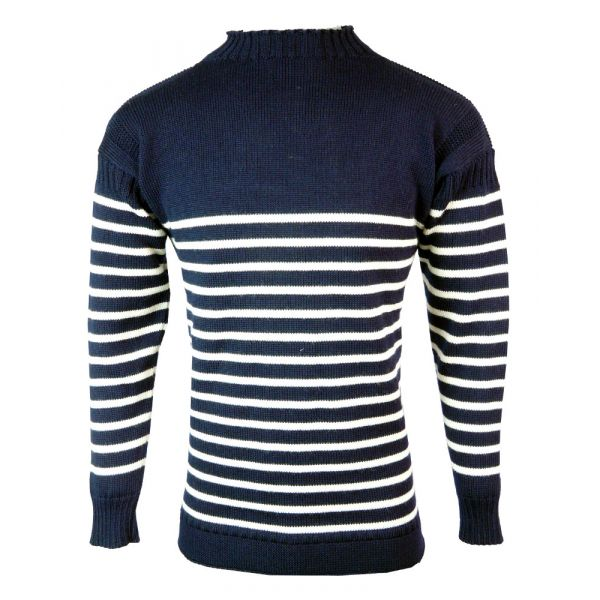 Breton Guernsey - Pure Wool Sweater in Navy/Ecru Stripe from The Richmond Range by Crystal Knitwear