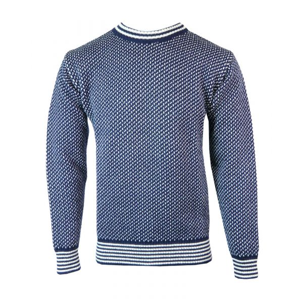 Nordic - Pure Wool Sweater in Navy/Ecru from The Richmond Range by Crystal Knitwear