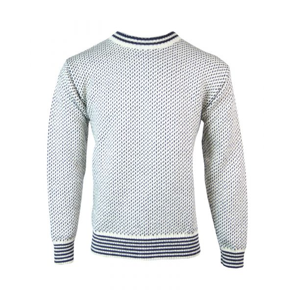 Nordic - Pure Wool Sweater in Ecru/Navy from The Richmond Range by Crystal Knitwear