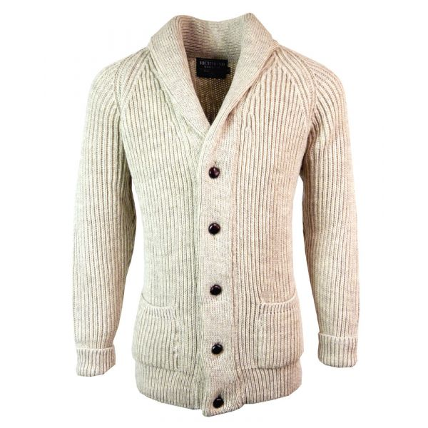 Shawl Collar Wool Jacket in Light Grey from The Richmond Range by Crystal Knitwear