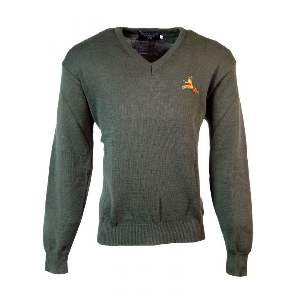 V Neck Shooting Sweater in Green from The Richmond Range by Crystal Knitwear