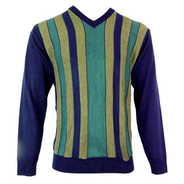 Gabicci V Neck Jumper with Contrast Front Stripes