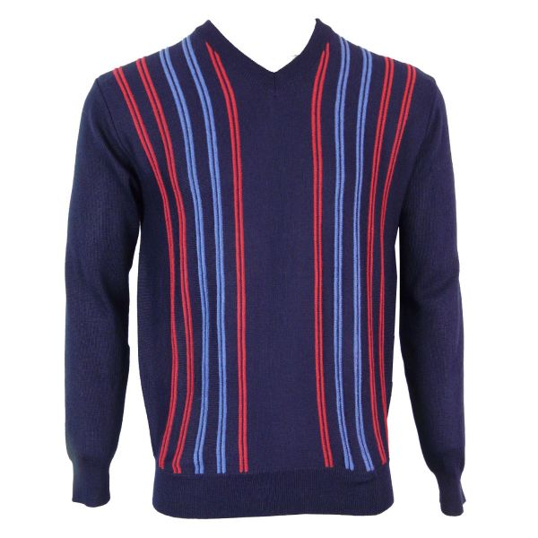 Gabicci V Neck Jumper with Double Stripe Design