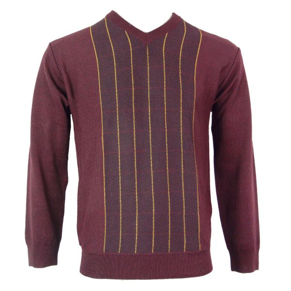 Gabicci V Neck Jumpler in Oxblood with Fine Gold Stripe Front