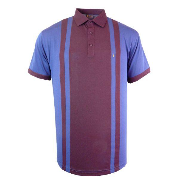 Classic Gabicci Polo Shirt - Two Colour Wide Centre Stripe