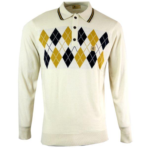 Gabicci Vintage - Long Sleeve Knitted Polo Top - Argyle Diamond Design
