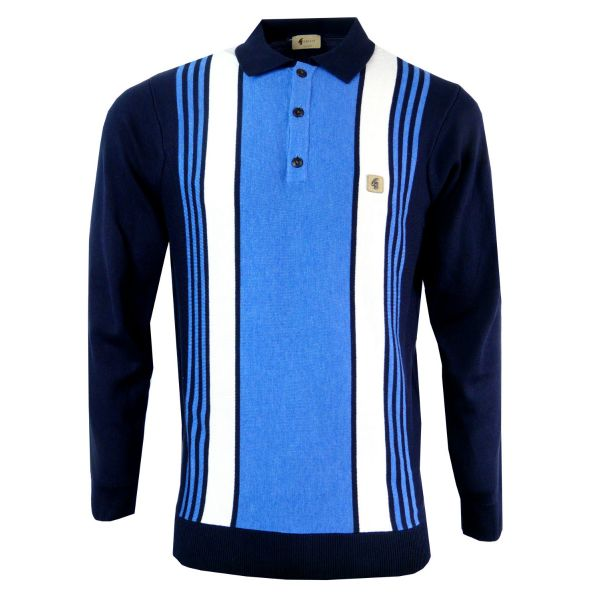 Gabicci Vintage - Long Sleeve Knitted Polo Top - Front Stripe Design