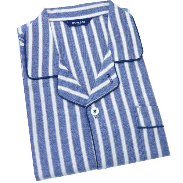 Guasch - Mens Brushed Cotton Pyjamas in Denim and White Stripe