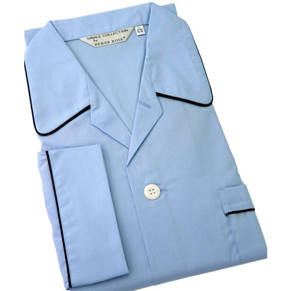 Derek Rose Savoy Blue Elastic Waist Pyjamas