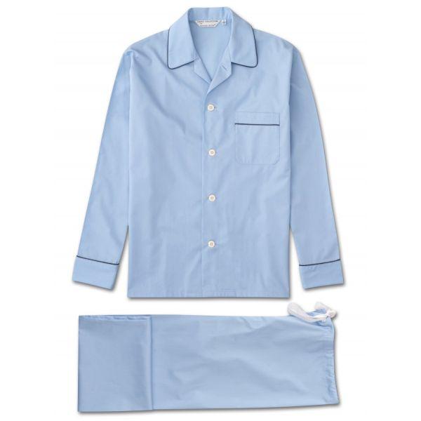 Derek Rose Savoy Blue Drawstring  Waist Pyjamas