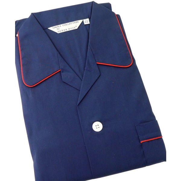 Derek Rose Navy Blue Elastic Waist Pyjamas