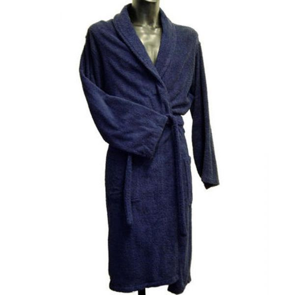 Bown - Mens Cotton Towelling Dressing Gown in Navy Blue