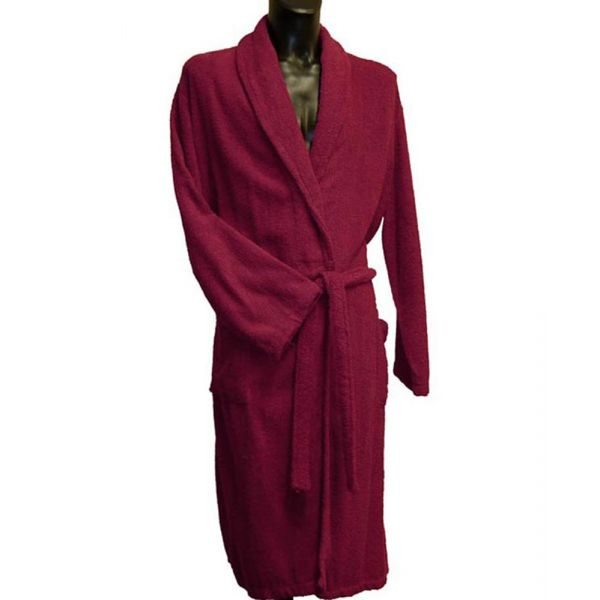 Bown Mens Cotton Towelling Dressing Gown in Wine
