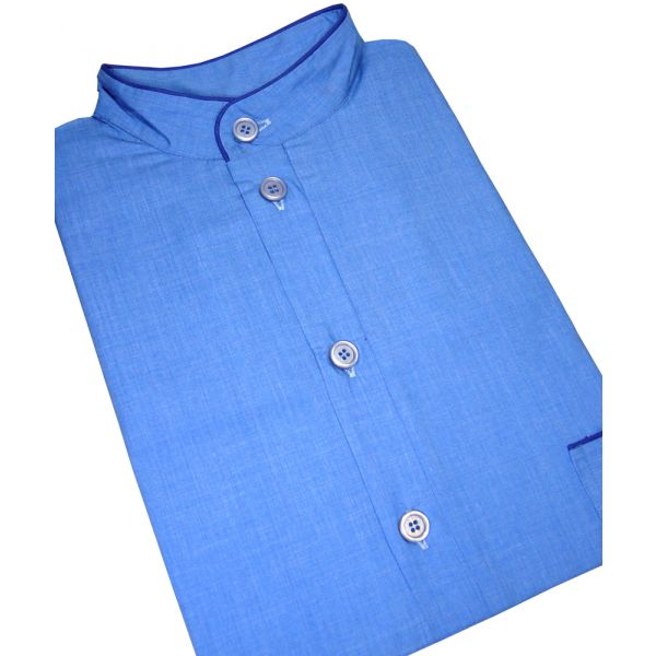 Blue Grandad Collar Men's Night Shirt