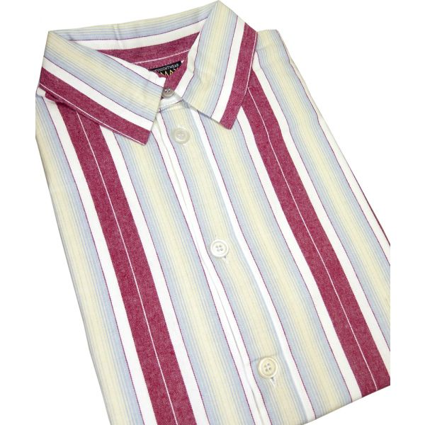 Red Striped Flanellette Men's Nightshirt