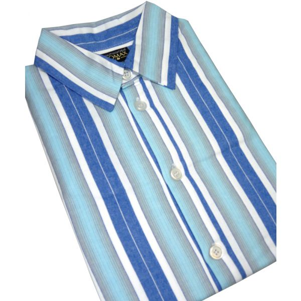 Blue Striped Flanellette Men's Nightshirt