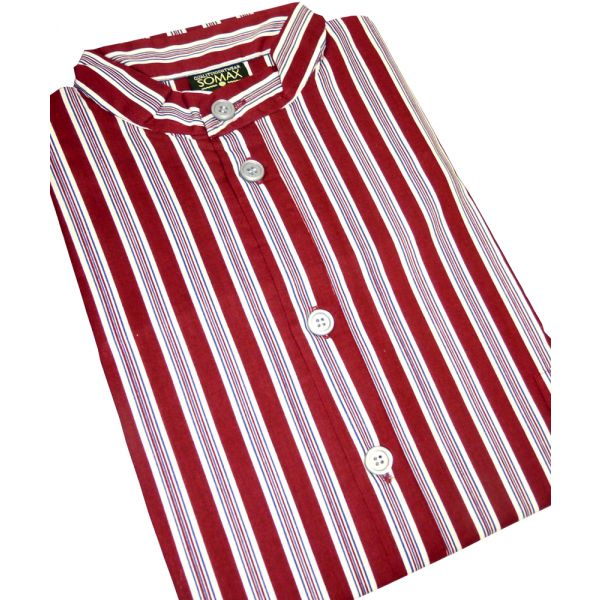 Wine Printed Stripe Grandad Collar Nightshirt