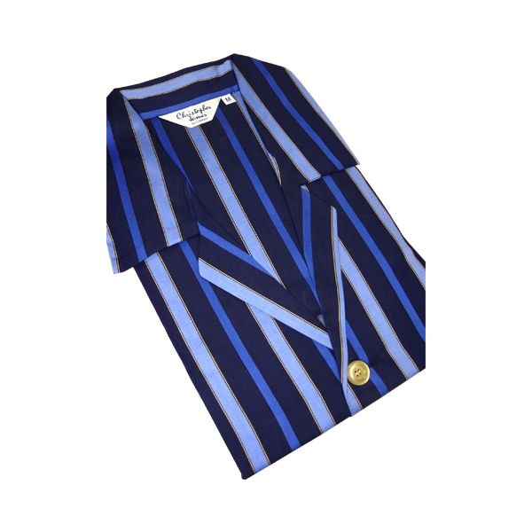 Christopher James Navy & Royal Blue Stripe Cotton Satin Weave Nightshirt