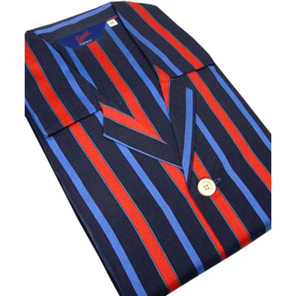 Christopher James Blue and Red Stripe Cotton Satin Weave Nightshirt