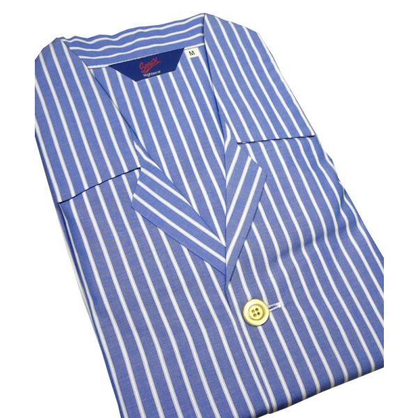 Christopher James Royal Blue Stripe Cotton  Nightshirt