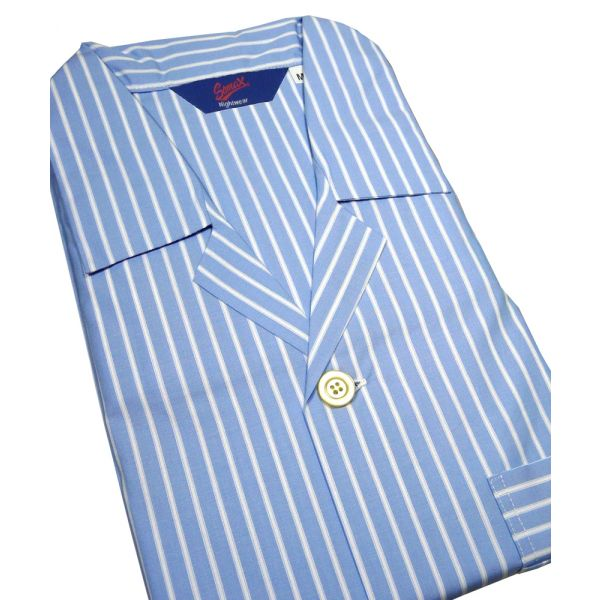 Christopher James Sky Blue Stripe Cotton  Nightshirt